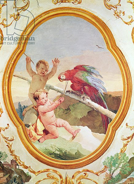 Two putti playing with a parrot