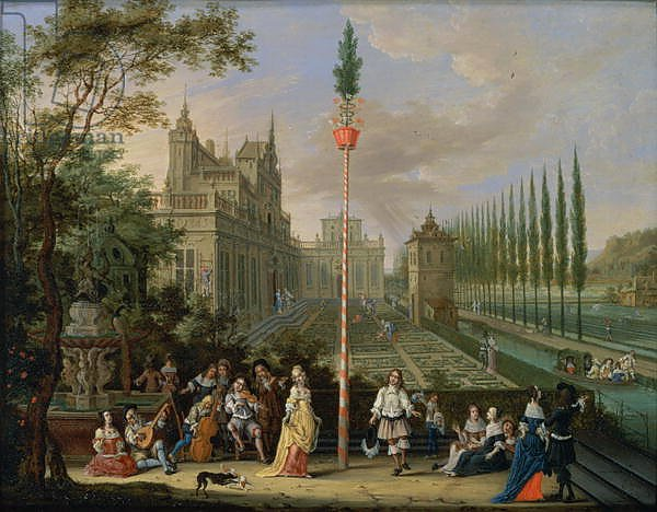 Elegant figures playing musical instruments around a maypole