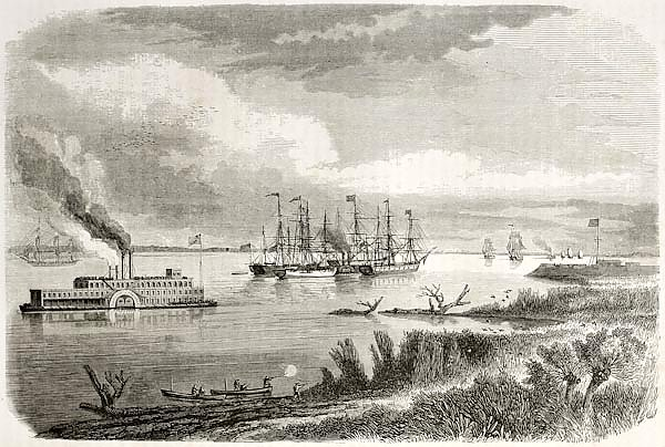 Steamship and tug sailing down the Mississipi. Created by Berard after Reclus, published on Le Tour