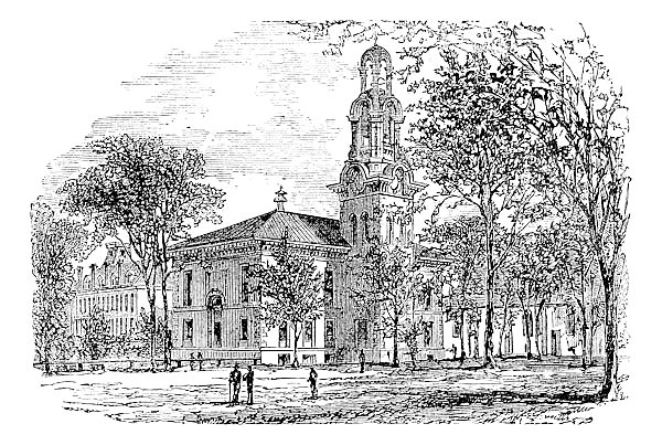 City Hall in Lawrence, Canada, vintage engraving