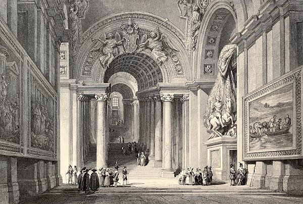 Royal Staircase in Vatican City. Original, created by W. L. Leitch and E. Challis, published in, Ita
