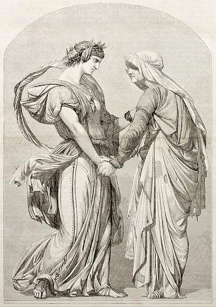 Love can not age: old allegoric illustration. Created by Gerome, Published on Magasin Pittoresque, P