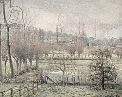 Постер Писсарро Камиль (Camille Pissarro) Snow Effect at Eragny, 1894