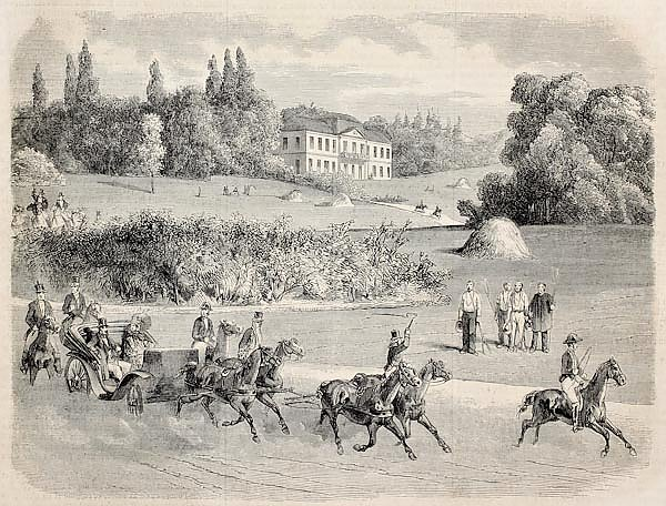 Carriage in the park of Vilgenis with the castle in background. Original, from drawing of Blanchard,