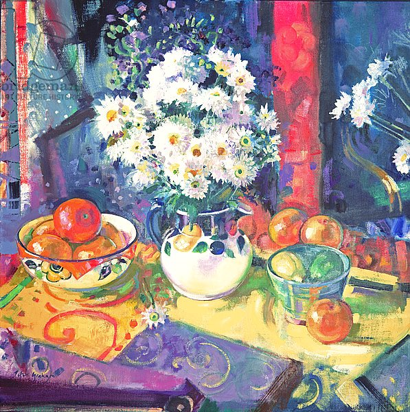 Flowers and Fruit in a Green Bowl, 1997