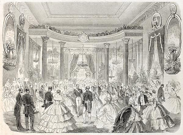 Emperor Napoleon III and empress at Grand Ball. Created by Godefroy-Durand, published on L'Illustrat