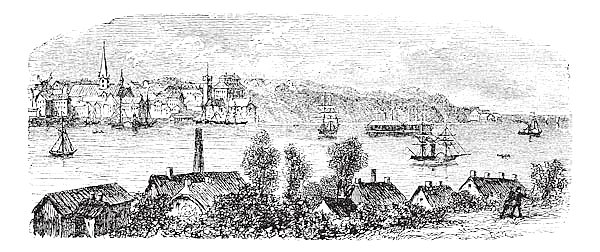 River, buildings and mountain at Kiel, Germany vintage engraving