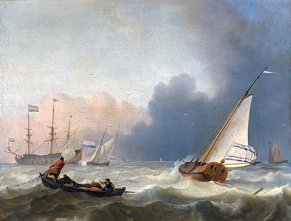 Rough seas with a Dutch yacht under sail