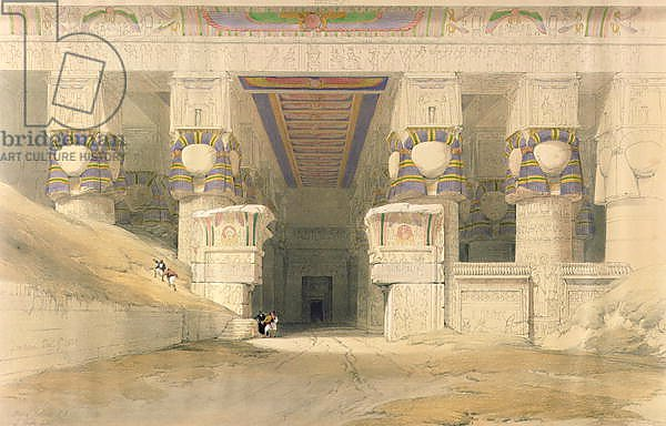 Facade of the Temple of Hathor, Dendarah, from 'Egypt and Nubia'