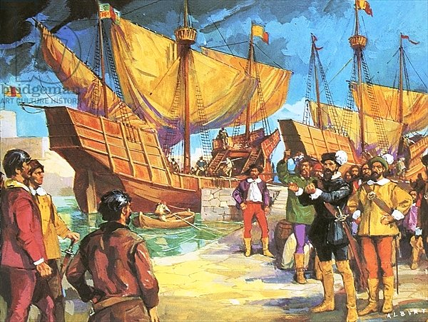 Pizarro setting sail from Panama in 1530