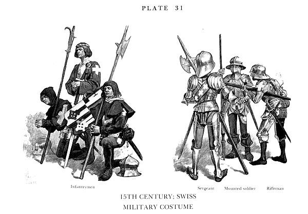 Постер XVè Siècle, Les militaires Suisses, 15th century, Swiss Military Costume 2