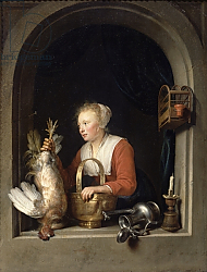 Постер Доу Герард The Dutch Housewife or, The Woman Hanging a Cockerel in the Window, 1650