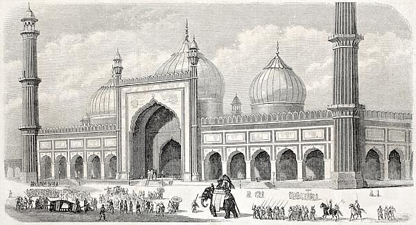 Jama Masjid, the principal mosque in Old Delhi. Created by Freeman, published on L'Illustration Jour