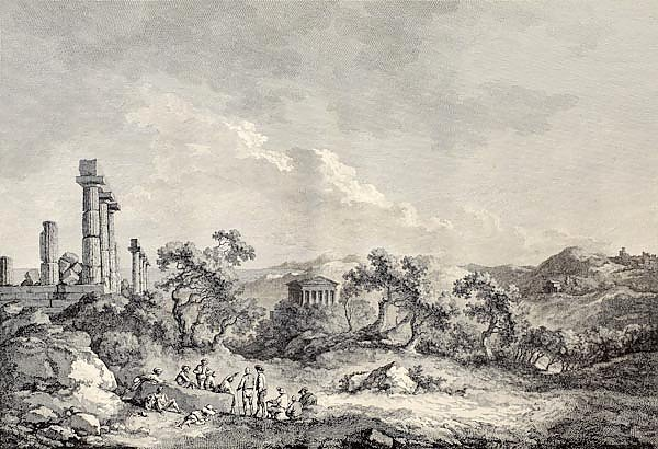 Valley of the Temples, Sicily. Created by Chatelet and Allix, Imprimerie de Clousier, Paris, 1786