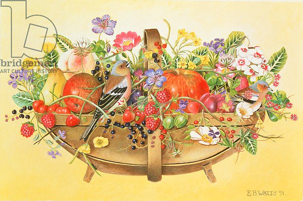 Trug with Fruit, Flowers and Chaffinches, 1991