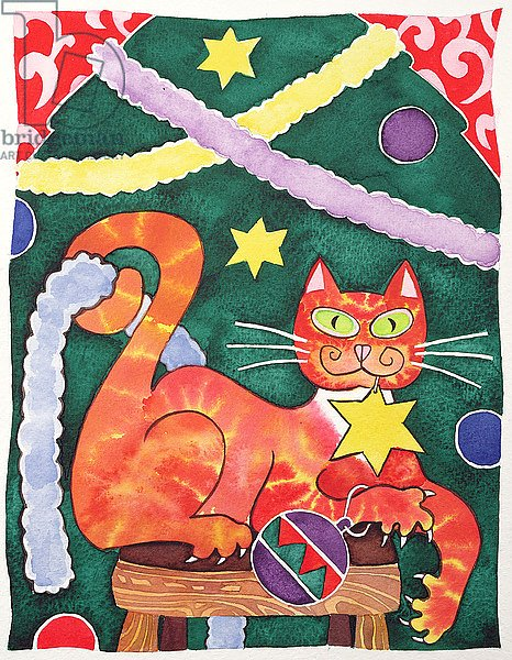 Christmas Cat with Decorations