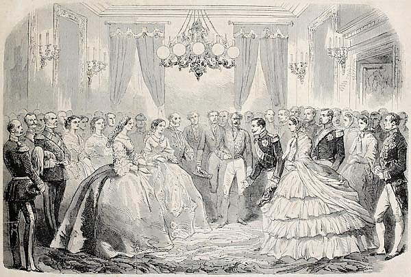 French emperor  meeting Russian empress dowager in Lyon, France. From drawing of Janet-Lange, publis