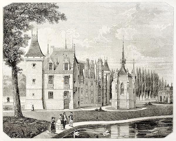 Meillant castle,  France. Created by Renard and Pontenier, published on Magasin Pittoresque, Paris,