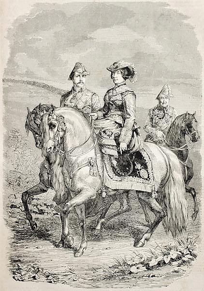 Isabella II Queen of Spain with her King consort. Original, from drawing of Hofer, published on L'Il