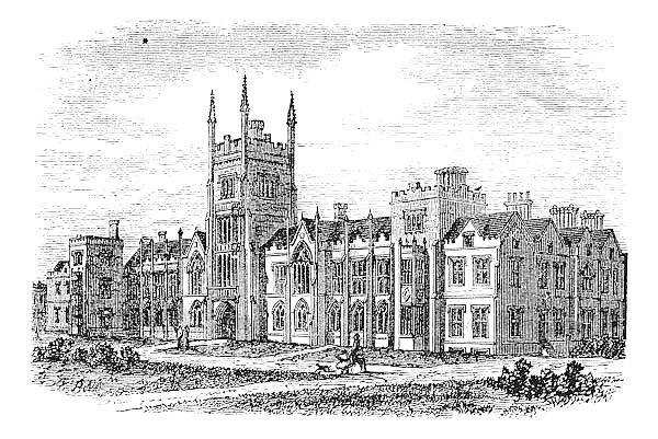 Queen's University in Belfast,Ireland, vintage engraving from the 1890s