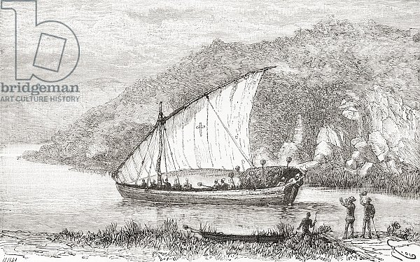 A dhow on the Congo River in the 19th century, from 'Africa Pintoresca', published 1888