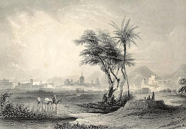 Palermo surroundings, Italy. Original engraving created by J. Muller and A. H. Payne in 1840