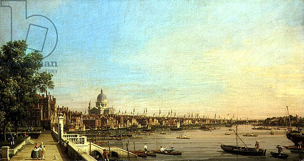 The Thames from the Terrace of Somerset House Looking Towards St. Paul's, c.1750