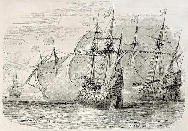 Sea battle between French and British ships during the siege of La Rochelle. Created by Rouargue, pu