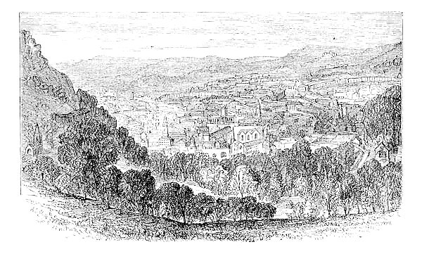 The City of Bath, Somerset, England, vintage engraving.