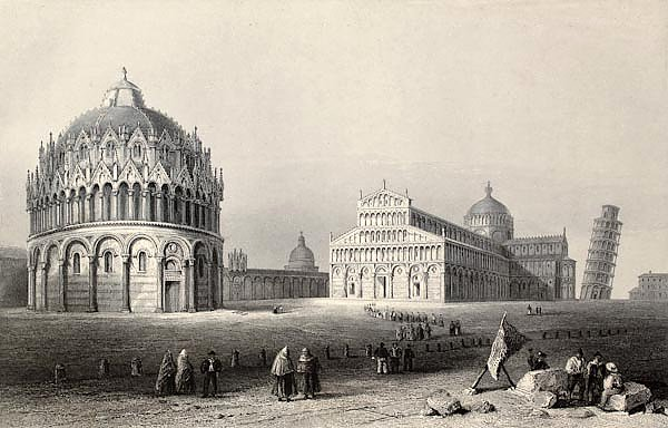 Pisa, Italy. Original, created by W. H. Bartlett and R. Sands, was published in Florence, Italy, 184