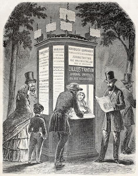 Newspaper kiosk. Created by Gaildrau, published on L'Illustration, Journal Universel, Paris, 1857