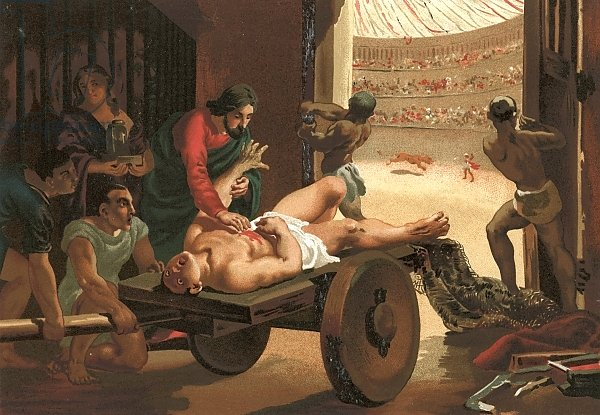 Galen assisting a gladiator, wounded in the circus of Bergamo