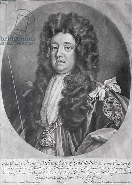 Portrait of Sidney Godolphin 1st Earl of Godolphin engraved and published by John Smith 1707