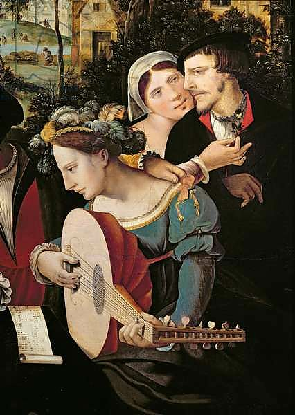 Scene Galante at the Gates of Paris, detail of a couple and a lute player