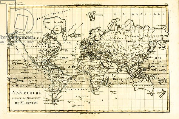 Map of the World using the Mercator Projection, 1780