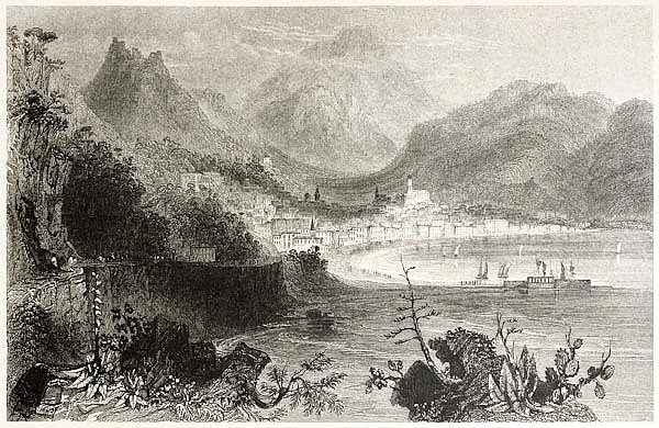 Salerno town and port. Created by Bartlett and Capone, published on Il Mediterraneo Illustrato, Spir