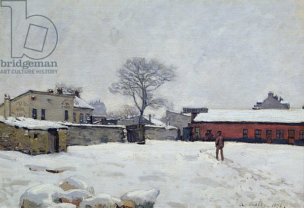 Постер Сислей Альфред (Alfred Sisley) Under Snow: the farmyard at Marly-le-Roi, 1876