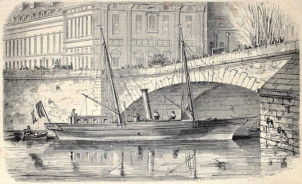 Prince Napoleon's yacht moored along the Seine in Paris. Original, from drawing of Lebreton, publish