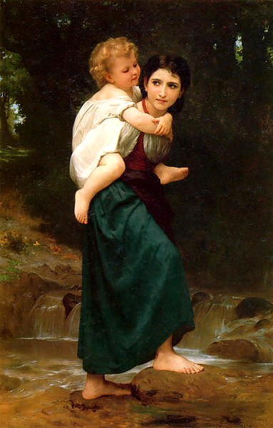 Постер Бугеро Вильям (Adolphe-William Bouguereau) Le passage du gue