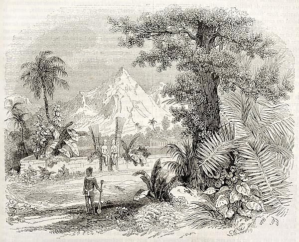 Marquesas Islands old view: Heiau (Hawaian temple) in Nuku Hiva isle. Created by Marville, published