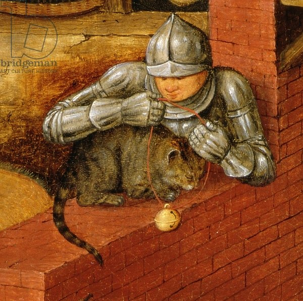 Knight putting a bell on a cat, detail from 'The Flemish Proverbs'