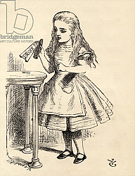 Постер Тениель Джон Alice peering at the Drink Me bottle, from 'Alice's Adventures in Wonderland' 1891