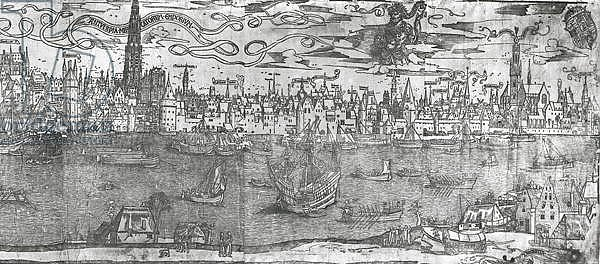 View of Antwerp Harbour, detail of the right hand section, 1515-50