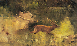 Постер Курбе Гюстав (Gustave Courbet) Stag Running through a Wood, c.1865