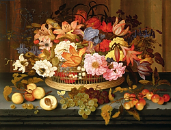 Постер Аст Балтазар Still Life of Fruit and a Basket of Flowers, 1623