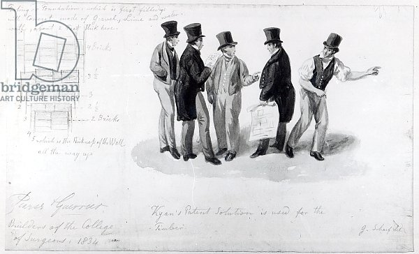 Builders, surveyors and architects at the building of the Royal College of Surgeons, 1834
