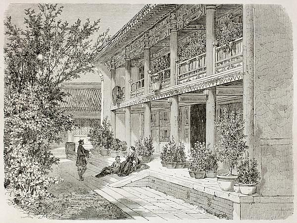 British Legation Verandah in Beijing. Created by Therond, published on Le Tour du Monde, Paris, 1864