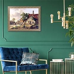 «Голландская деревушка» в интерьере гостиной с розовым диваном