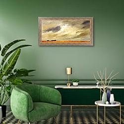 «Ферма 2» в интерьере гостиной в зеленых тонах