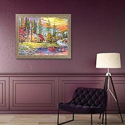 «Закат у домика на озере» в интерьере в классическом стиле над комодом